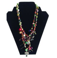 Pandora Necklace. Made with over 50 beads which include, glass beads, agates, semi- precious stones, seed beads and more.