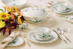 """Dinner Service """"Prince Eugene"""" This """"green Chinoiserie"""" is based on Asian designs. Created in 1720, the """"Prince Eugene"""" pattern is one of the oldest produced by the Vienna Porcelain Manufactory. Prince Eugene of Savoy, a famous commander and art-lover, ordered the first service with this pattern for the garden room of his palace, the """"Belvedere"""" in Vienna. According to the historical tradition dating back centuries, it is still produced and painted by hand, Porzellan Manufaktur Augarten…"""