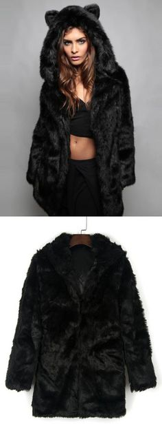 My favorite part about colder weather—coats! I have about 18 in my closet. Love this black cat ear detail hooded faux fur coat!Find it at Choies.com!