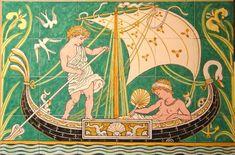 Walter Crane panel boys in boat