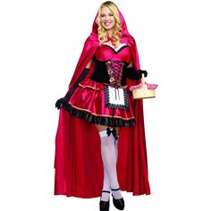 Red 2 piece little red riding hood plus sized costume (100 CAD) ❤ liked on Polyvore featuring costumes, red, plus size red riding hood halloween costumes, plus size womens costumes, womens plus costumes, plus size halloween costumes and plus size red riding hood costume