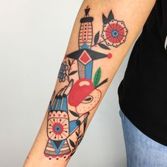 Winston the Whale - hand Apple dagger and flower tattoo @winstonthewhale