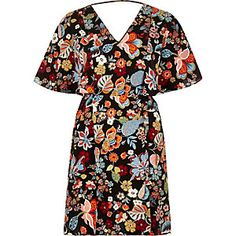 Black floral print cape dress