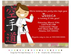 Karate Party Birthday Party GIRL Digital by PinkHippoBoutiqueDIY, $13.00
