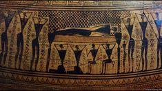 Detail mrtvola vládce v průvodu, šachovnice, 800 B. Ancient Greece, Roman, Greek, Pottery, Ceramics, Detail, Painting, Museum, Art Ideas