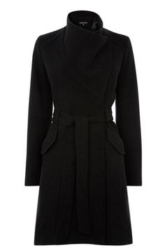 This elegant coat features an asymmetric, waterfall front with popper fastenings and a matching self-tie belt
