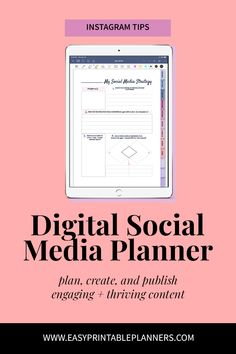 Social Media Digital Planner to use on iPad or Android tablet. Amazing GoodNotes planner ready for you to tackle your weight-loss goals. Small Business Plan, Business Planning, Social Media Channels, Social Media Tips, Social Media Digital Marketing, Facebook Instagram, How To Plan, Printable Planner, Etsy Seller