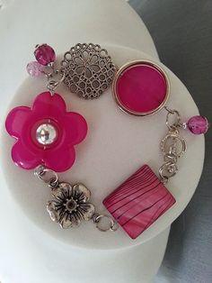 Fuchsia jewelry Asymmetrical bracelet Flower by LesBijouxLibellule Prom Jewelry, Funky Jewelry, Stylish Jewelry, Summer Jewelry, Beaded Jewelry, Unique Jewelry, Beaded Bracelets, Wedding Jewelry, Jewlery