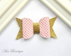 Baby Bow Hair Clip Yellow and Pink Bow Hair Clip by AvaBowtiquee