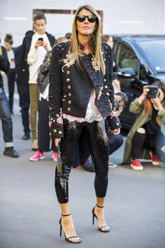 Anna Dello Russo wears black sequinned pants to Paris Fashion Week S/S 17.