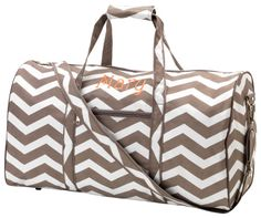 Taupe Chevron Large Duffel Bag Personalized by maggiesembroidery, $34.95