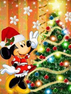 Edible Paper in Creatividades: Christmas Disney Disney Merry Christmas, Minnie Mouse Christmas, Christmas Cartoons, Mickey Mouse And Friends, Christmas Art, Christmas Friends, Walt Disney, Disney Fun, Disney Mickey