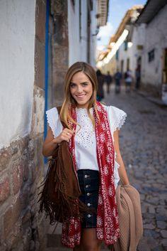 Visiting Cusco, Peru carrying my Ralph Lauren suede bag