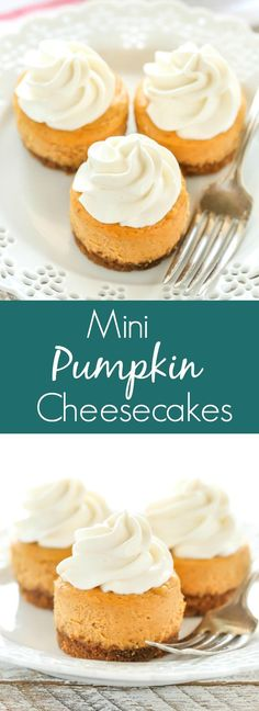 These Mini Pumpkin Cheesecakes feature an easy three ingredient gingersnap cookie crust with a smooth and creamy pumpkin cheesecake filling on top. These are the perfect mini dessert for fall!