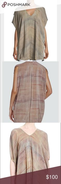Eileen Fisher Silk Grove Print V Neck Wedge Tunic Eileen Fisher does it again with this gorgeous abstract print v neck tunic....silk crepe de chine in earth tones can be dressed up or down. V front neckline and loose fit.  This could fit a medium. Made in India. Retailed for $278. Brand new/ smoke free home. Dry clean only. Most accurate color depiction is in photos taken by me. Eileen Fisher Tops Tunics