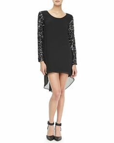 Sequined-Sleeve Chiffon Dress by Dress the Population at Neiman Marcus.