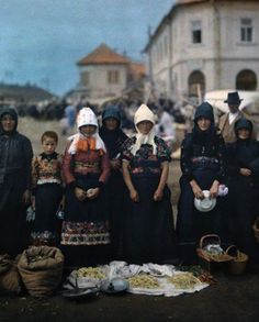 ca. January 1930, Mezokovesd, Hungary --- Portrait of peasant women and girls at the market in Mezokovesd --- Image by © Hans Hildenbrand/National Geographic Society/Corbis