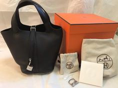4d04ca0581 Extra Off Coupon So Cheap New Authentic Hermes Picotin PM 18 Black Clemence  Tote Bag