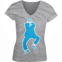 Oppan Gangnam Style Juniors V-Neck T-shirt, Funny K-Pop Dancing Man Juniors V-neck Tee Shirt, Medium, Lt-Gray