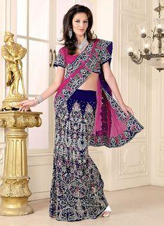 Dashing Hot Pink & Blue Net Velvet Lehenga Style Saree