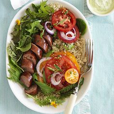 Tomatoes with Sausage and Green Goddess Dressing - 15 Quick and Easy Quinoa Recipes - Health Mobile Quinoa Recipes Easy, Salad Recipes, Healthy Recipes, Lunch Recipes, Easy Recipes, Dinner Recipes, Goddess Dressing Recipe, Green Goddess Dressing, How To Cook Quinoa