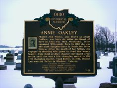 Brock, OH (Darke County) - Ohio Historical Marker #7 - 19 at Annie Oakley's grave.