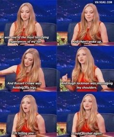 Amanda Seyfried talking about fainting on the set of Les Miserables I Smile, Make Me Smile, Tv, Amanda Seyfried, I Love To Laugh, It Goes On, Look At You, Looks Cool, Just For Laughs