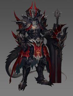 In armor Arhad Fantasy Monster, Monster Art, Fantasy Armor, Dark Fantasy Art, Fantasy Art Warrior, Fantasy Character Design, Character Art, Dragon Armor, Dragon Knight