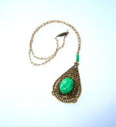 Antique Brass Necklace - Vintage Green Pendant Necklace - Victorian Necklace - Gift Idea - Vintage Necklace by BohemianGypsyCaravan
