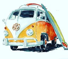 This watercolor is for my nephew Alex ! Surfers only ! Surfboard Painting, Surfboard Art, Car Painting, Watercolor Drawing, Watercolor Illustration, Watercolor Paintings, Funky Art, Surfer, Hippie Art