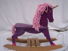 unicorn rocker, perhaps a unicorn hobby horse too Unicorn Hobby Horse, Unicorn Rocking Horse, Rocking Horses, Carnival Nursery, Purple Furniture, Kids Furniture, Vintage Birthday Parties, Baby L, Trash To Treasure