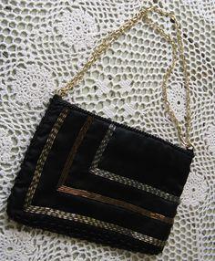 black satin evening bag sexy elegant little by rivertownvintage, $24.95