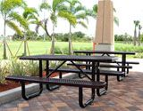 Thermoplastic coated picnic tables in purple.