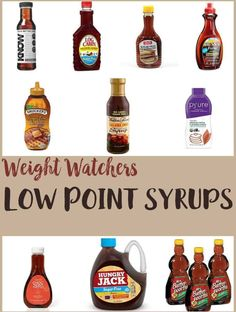 Sunday brunch isn't complete without pancakes and syrup? This list of over 20 Low Point Syrups make it easy to have syrup even when on Weight Watchers Freestyle plan. Each syrup in this list includes the Smart Point values per serving. Weight Watchers Pancakes, Dessert Weight Watchers, Weight Watchers Vegetarian, Weight Watchers Meal Plans, Weight Watchers Breakfast, Weight Watchers Smart Points, Weight Watchers Free, Weight Watchers Chicken, Weigh Watchers