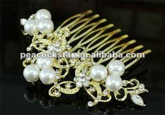 Bridal Wedding Party Prom Quality Crystal White Pearl Gold Plated Hair Comb CT1368-in Hair Jewelry from Jewelry on Aliexpress.com