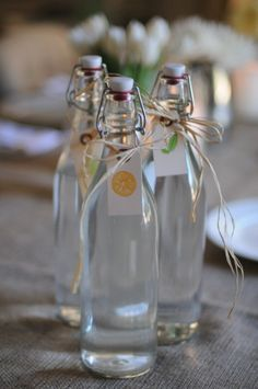 simple and elegant way to serve flavored waters. I love these bottles.