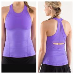 Lululemon make it count tank in purple Great condition! Size 4. No tag or size dot. Has built in bra but no padding. Padding came be added to bra though. Super cute cut out on back! 🙅🏻 no trades lululemon athletica Tops Tank Tops