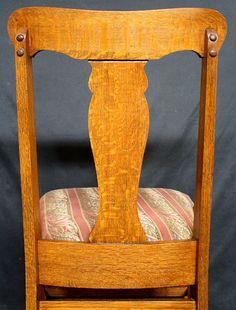 Antique Quartersawn Oak Wood Fiddle Back Dining Side Chair Fabric