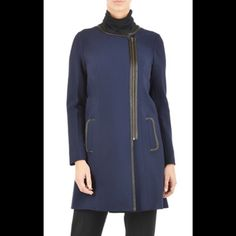 """New Eshakti Navy Jacket S New Eshakti Navy Jacket Custom Size S Measurements: underarm to underarm: 35"""" waist: 34"""" Hips: 36"""" Length: shoulder to hem: 31"""" Sleeve: 22"""" Asymmetrical front zipper, faux leather trim, Princess seamed bodice, front pockets. Lined in polyester miss crepe. Polyester/rayon/ spandex, double weave, light stretch, heavier mid weight. Dry clean eshakti Jackets & Coats"""
