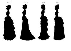 History of 1880 clothing- The second bustle period (the 1880's) is heavier, with decoration more resembling upholstery style. Colors get more Jewel-toned and velvets, heavy satins and brocades replace the taffetas and cottons of the 1870's. Surface decoration is often of passementarie or jet beads, giving the whole ensemble a more mature flavor.