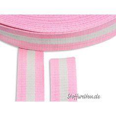 Hochw. BAUMWOLL-GURTBAND, Streifen, rosa, 40mm breit -...