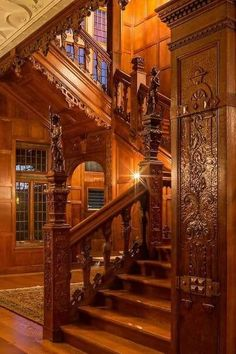 "MANSION, Interior: Crocker Mansion stairs in Mahwah, New Jersey. Built by architect James Brite in It is on the National Register of Historic Places. Constructed of Indiana limestone and Harvard brick, the home is also named ""Darlington. Victorian Homes Exterior, Old Victorian Homes, Victorian Interiors, Victorian Houses, Victorian Hall, Rustic Exterior, Victorian Stairs, Victorian Furniture, Victorian Steampunk"