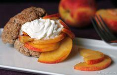 Skinny Peach Shortcake with a Honey Greek Yogurt Topping--YUM!!  #skinny #peach #shortcake #greekyogurt #honey #dessert