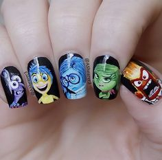 All the Inside Out gang on this amazing design Sadness, Disgust, Fear, Joy & Anger Cartoon Nail Designs, Disney Nail Designs, Cute Nail Art Designs, Disney Acrylic Nails, Disney Nails, Best Acrylic Nails, Disney Inspired Nails, Nail Art For Kids, Acryl Nails