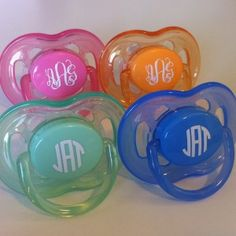 Such cute monogrammed pacifiers!