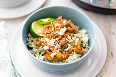 Pressure Cooker Chipotle Chicken and Rice Bowls! Just like fast food take-out, but better! Use the pot-in-pot method to cook the chicken and rice together in your Instant Pot.