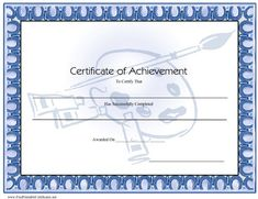 This blue certificate of achievement features an artist palette, brush, and tubes of paint. Free to download and print
