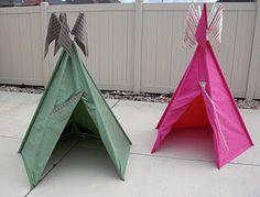 Tee pee tutorial from sheets and PVC pipe.