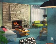 Vintage Mid Century Modern living room. Love all of the furniture! Love! Love! Love!