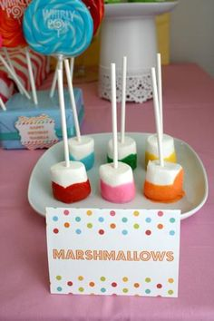 Hostess with the Mostess® - Modern Rainbow Party - sugar dipped colored marshmallow
